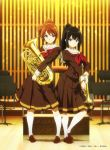 2girls artist_name blush brown_eyes brown_footwear brown_hair brown_shirt brown_skirt closed_mouth commentary_request euphonium full_body hibike!_euphonium highres holding holding_instrument instrument kneehighs kousaka_reina loafers long_hair long_sleeves looking_at_viewer medium_skirt multiple_girls neckerchief official_art oumae_kumiko ponytail red_neckwear sailor_collar shirt shoes short_hair short_ponytail sidelocks skirt smile standing trumpet violet_eyes white_legwear white_sailor_collar