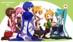 +++ 1boy 4girls aosaki_yato aqua_eyes aqua_hair aqua_neckwear arm_warmers armband bangs bare_shoulders bass_clef birthday birthday_cake black_collar black_legwear black_shirt black_shorts black_skirt black_sleeves blonde_hair blue_eyes blue_hair blue_scarf blush bow brown_hair cake candle character_name closed_eyes coat collar commentary crop_top detached_sleeves eighth_note food fruit gold_trim grey_shirt hair_bow hair_ornament hairclip happy_birthday hatsune_miku headphones heart highres holding holding_cake holding_food holding_phone indian_style leg_warmers long_hair looking_at_another miniskirt multiple_girls musical_note neckerchief necktie open_mouth phone pink_hair pleated_skirt red_shirt red_skirt ribbon sailor_collar scarf school_uniform seiza shirt short_hair short_ponytail short_shorts short_sleeves shorts sitting skirt sleeveless sleeveless_shirt smile spiky_hair spoken_heart spoken_musical_note spring_onion strawberry swept_bangs taking_picture thigh-highs treble_clef twintails very_long_hair vocaloid wariza white_bow white_coat white_shirt yellow_neckwear zettai_ryouiki