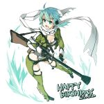 1girl anti-materiel_rifle aqua_eyes aqua_hair black_shorts breasts cropped_jacket green_jacket gun hair_ornament hairclip happy_birthday highres jacket open_mouth pgm_hecate_ii rifle scarf shikei shiny shiny_hair shiny_skin short_hair short_hair_with_long_locks shorts simple_background sinon small_breasts sniper_rifle solo standing sword_art_online weapon white_background