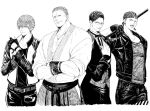 4boys bandana billy_kane crossed_arms fingerless_gloves geese_howard glasses gloves greyscale hakama hand_on_own_chest hein_(kof) jacket japanese_clothes jewelry mark_of_the_wolves monochrome multiple_boys necklace osakana_e rock_howard short_hair staff the_king_of_fighters the_king_of_fighters_xiv tongue tongue_out
