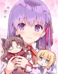 3girls artoria_pendragon_(all) bangs black_legwear black_ribbon black_skirt blonde_hair blue_bow blush blush_stickers bow braid brown_hair brown_vest chibi closed_mouth collared_shirt commentary_request eyebrows_visible_through_hair fate/stay_night fate_(series) floral_background flying_sweatdrops green_eyes hair_between_eyes hair_bow hair_ribbon long_hair matou_sakura minigirl multiple_girls o_o parted_bangs parted_lips pleated_skirt purple_hair red_bow red_shirt ribbon rioshi saber school_uniform shirt skirt smile sparkle tohsaka_rin two_side_up upper_body vest violet_eyes wavy_mouth white_shirt