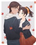 1boy 1girl autumn autumn_leaves black_jacket blue_pants bow brown_hair closed_mouth collarbone collared_shirt cowboy_shot dress_shirt floating_hair green_eyes grey_background hair_bow hattori_heiji hood hood_down jacket leaf maple_leaf medium_hair meitantei_conan miniskirt open_clothes open_jacket orange_bow orange_skirt pants pleated_skirt ponytail profile shirt skirt standing sweatdrop tooyama_kazuha two-tone_background white_background white_shirt wing_collar zarutsu