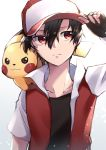 1boy absurdres arm_up bangs baseball_cap black_gloves black_hair black_shirt closed_mouth commentary_request fingerless_gloves gen_1_pokemon gloves hair_between_eyes hand_on_headwear hat highres jacket looking_to_the_side on_shoulder pikachu pokemon pokemon_(creature) pokemon_(game) pokemon_on_shoulder pokemon_rgby red_(pokemon) red_eyes ruriiro_blue shirt short_sleeves upper_body