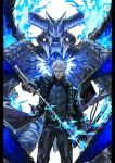 1boy arm_at_side black_gloves black_pants blue_coat blue_eyes blue_fire blue_vest buttons closed_mouth coat commentary_request cowboy_shot demon devil_may_cry devil_may_cry_5 devil_trigger fingerless_gloves fire frown gloves highres holding holding_sheath holding_sword holding_weapon horns katana long_coat looking_at_viewer male_focus multiple_horns ogata_tomio pants scabbard sheath short_hair solo sword vergil vest weapon white_background white_hair wings