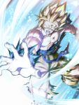 1boy blonde_hair blood blood_on_face bruise_on_face commentary_request dragon_ball highres male_focus mattari_illust muscle open_mouth solo son_gokuu spiky_hair super_saiyan super_saiyan_1 torn_clothes v-shaped_eyebrows