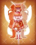 1girl absurdres bangs blunt_bangs boots bow cassidy_(sleepless_domain) dress emily_thorn eyebrows_visible_through_hair flash_cut hair_bow highres long_sleeves magical_girl orange_background orange_eyes orange_hair orange_nails pink_bow scissor_blade scissors short_hair sleepless_domain smile standing white_footwear