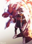 1boy arlo_(pokemon) aura black_hair black_jacket black_pants clenched_hand fire gen_2_pokemon gloves highres holding holding_poke_ball hood hood_down inumaru_akagi jacket multicolored_hair pants poke_ball pokemon pokemon_(creature) pokemon_(game) pokemon_go ponytail red_eyes red_sclera redhead scizor simple_background standing team_rocket twitter_username two-tone_hair white_background white_footwear white_gloves