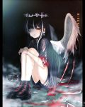 1girl absurdres angel angel_wings artist_name bandages black_background black_choker black_footwear black_hair black_shirt blood bloody_clothes broken_glass choker commentary cross cross-laced_footwear cross_choker cross_earrings dated denim denim_shorts dopoing earrings eyepatch facial_scar fallen_angel feathered_wings feathers glass halo highres huge_filesize jewelry long_hair looking_at_viewer multicolored_hair original red_eyes scar scar_across_eye scar_on_cheek shirt short_shorts shorts sitting smoke solo stitches streaked_hair tears torn_clothes torn_shirt torn_shorts two-tone_hair white_eyepatch white_hair white_wings wings