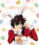 1boy alternate_costume animal_ears black_hair cake darren_shan food fork fruit green_eyes hat highres macaron plate rabbit_ears short_hair smile solo strawberry strawberry_shortcake the_saga_of_darren_shan tongue tongue_out top_hat