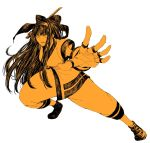 1girl ainu_clothes bangs bow fingerless_gloves gloves hair_bow highres long_hair nakoruru osakana_e reverse_grip samurai_spirits solo sword weapon