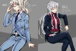 2girls :d ak-12_(girls_frontline) an-94_(girls_frontline) bangs belt black_belt black_jacket black_pants blazer blue_jacket blue_neckwear blue_pants blue_shirt blue_suit closed_eyes closed_mouth coll_(erichankun) collared_shirt eyebrows_visible_through_hair folded_hair girls_frontline glasses grey_background hand_up id_card jacket long_hair looking_at_viewer multiple_girls open_blazer open_clothes open_jacket open_mouth pants platinum_blonde_hair red_shirt shirt sidelocks sitting smile white_neckwear white_shirt