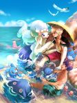 2boys barefoot beet_(pokemon) blonde_hair brionne clouds commentary_request corsola curly_hair dark_skin day galarian_form galarian_slowpoke gen_2_pokemon gen_3_pokemon gen_4_pokemon gen_7_pokemon gen_8_pokemon highres holding holding_umbrella hop_(pokemon) male_swimwear mantyke marill multiple_boys open_mouth outdoors pokemon pokemon_(creature) pokemon_(game) pokemon_swsh popplio primarina purple_hair rock satomune_s sky swim_trunks swimwear teeth toes umbrella water wingull