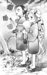 2girls :t blush bosako_(haguhagu) bow clog_sandals dango food from_side greyscale haguhagu_(rinjuu_circus) hair_bow highres horns japanese_clothes kimono long_hair looking_at_viewer monochrome multiple_girls obi open_mouth original sandals sash standing very_long_hair wagashi