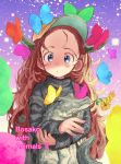 1girl :o animal artist_name baseball_cap blue_eyes bosako_(haguhagu) brown_hair brown_headwear bug butterfly crocodile crocodilian flower_in_mouth grey_sweater haguhagu_(rinjuu_circus) hat holding holding_animal horns insect long_hair long_sleeves looking_at_viewer mouth_hold original parted_lips solo sweater very_long_hair