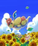 closed_eyes clouds day dragonite field flower flower_field gen_1_pokemon gen_2_pokemon hat hoppip kikuyoshi_(tracco) mailbag no_humans outdoors pokemon red_headwear skiploom smile sunflora sunflower