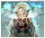 1girl big_hair blonde_hair blue_eyes blush border bosako_(haguhagu) closed_mouth coat green_coat haguhagu_(rinjuu_circus) long_hair long_sleeves looking_at_viewer messy_hair mittens original red_panda solo upper_body white_border