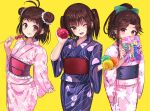 3girls :q alternate_costume antenna_hair bangs blush bow double_bun eating eyebrows_visible_through_hair floral_print food food_on_face hair_bow holding japanese_clothes jintsuu_(kantai_collection) kantai_collection kimono long_hair long_sleeves multiple_girls naka_(kantai_collection) obi one_eye_closed open_mouth ponytail sash sendai_(kantai_collection) short_hair simple_background tongue tongue_out tooi_aoiro two_side_up water_balloon wide_sleeves yellow_background yukata