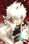 1boy artist_name close-up dido_(super_robot_wars_dd) glowing glowing_hand hair_over_one_eye hgoyan jacket looking_to_the_side red_eyes solo super_robot_wars super_robot_wars_dd white_hair white_jacket