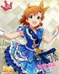 blush character_name dress idolmaster_million_live!_theater_days orange_hair short_hair smile yabuki_kana yellow_eyes