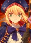 1girl artoria_pendragon_(all) artoria_pendragon_(caster) ashes black_gloves blonde_hair blue_bow blue_capelet blue_headwear bow buttons capelet commentary_request dress embers eyebrows_visible_through_hair fate/grand_order fate/stay_night fate_(series) gloves green_eyes hair_between_eyes hat highres holding holding_staff long_hair long_sleeves meiji_ken multicolored_capelet parted_lips red_capelet reflection reflective_eyes saber staff sword teeth twitter_username weapon white_dress