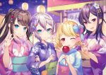 4girls bangs blonde_hair blue_bow blue_eyes blue_kimono blush booth bow braid breasts brown_hair candy_apple closed_mouth commentary_request floral_print flower food hair_between_eyes hair_flower hair_ornament hand_up hands_up highres holding holding_another's_hair holding_food ichinose_uruha japanese_clothes kaga_nazuna kaga_sumire kimono kogara_toto long_hair long_sleeves looking_at_viewer lupinus_virtual_games medium_hair mole mole_under_eye multiple_girls night obi official_art one_eye_closed open_mouth pink_bow pink_flower pink_kimono ponytail print_kimono purple_flower purple_hair red_eyes red_flower ringozaka_mariko sash short_hair silver_hair small_breasts smile twin_braids two-tone_bow upper_body v violet_eyes virtual_youtuber w wide_sleeves yukata