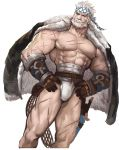 1boy abs bara beard blonde_hair bulge chest collarbone facial_hair fundoshi granblue_fantasy hands_on_hips jacket jacket_on_shoulders jang_ju_hyeon japanese_clothes male_focus muscle mustache nipples pectorals scar short_hair sketch solo soriz thick_thighs thighs upper_body