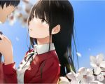1boy 1girl bangs black_hair black_ribbon blue_sky blurry blurry_background blush brown_eyes brown_hair center_frills cherry_blossoms collared_shirt commentary_request day eyebrows_visible_through_hair flower frills from_side hand_up highres jacket katou_megumi long_hair long_sleeves looking_at_another neck_ribbon niii_(memstapak) open_clothes open_mouth outdoors parted_lips petals red_jacket ribbon saenai_heroine_no_sodatekata shirt sky solo_focus upper_body white_flower white_shirt
