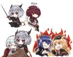 5girls anger_vein angry animal_ears arknights bangs beret black_dress black_gloves black_headwear black_jacket blue_hair ch'en_(arknights) character_request closed_mouth commentary_request creepy_himecchi detached_wings dragon_horns dress drill_hair expressionless exusiai_(arknights) eyebrows_visible_through_hair fingerless_gloves fire gloves green_eyes gun hair_between_eyes hair_over_one_eye halo hat highres holding holding_gun holding_sword holding_weapon horns jacket kriss_vector long_hair long_sleeves multiple_girls necktie open_mouth orange_hair orange_neckwear pointing red_eyes redhead reunion_logo_(arknights) shirt short_hair sidelocks simple_background submachine_gun swire_(arknights) sword talulah_(arknights) upper_body weapon white_background white_jacket white_shirt wings