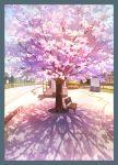 bench cherry_blossoms day mizuasagi no_humans original outdoors scenery shadow spring_(season) tree
