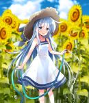 1girl bangs blue_eyes blurry blurry_background blush brown_headwear clouds commentary_request day dress eyebrows_visible_through_hair flower hat hibiki_(kantai_collection) highres hizuki_yayoi holding holding_hose hose kantai_collection long_hair open_mouth outdoors rainbow silver_hair sky solo sun_hat sunflower water white_dress yellow_flower