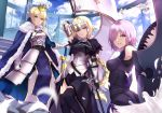 3girls absurdres ahoge armor armored_dress artoria_pendragon_(all) bangs black_legwear blonde_hair blurry blush braid breastplate breasts cloak closed_mouth crown day depth_of_field excalibur fate/apocrypha fate/grand_order fate/stay_night fate_(series) faulds feathers french_braid fur_trim gauntlets green_eyes hair_over_one_eye headpiece highres holding holding_shield jeanne_d'arc_(fate) jeanne_d'arc_(fate)_(all) long_hair looking_at_viewer mash_kyrielight medium_breasts multiple_girls outdoors parted_lips saber serious sheath sheathed shield shiguru short_hair sidelocks single_braid smile standard_bearer sword thigh-highs tsurime very_long_hair violet_eyes weapon