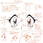 1990s_(style) araizumi_rui_(style) character_name eyes lina_inverse mamiya_myanmar monochrome multiple_views oldschool reference_sheet slayers translation_request v-shaped_eyebrows white_background