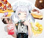 +_+ 1girl ;q bare_arms bare_shoulders bell black_bow black_nails blue_eyes blush bow center_frills closed_mouth commentary_request cream cream_on_face diagonal_stripes double_bun drinking_straw flower food food_on_face food_request frills fruit grey_background hands_up heart highres holding jingle_bell nail_polish one_eye_closed original shirt silver_hair sleeveless sleeveless_shirt smile solo strawberry striped tongue tongue_out two-tone_background two_side_up vest white_background white_flower white_shirt white_vest yuhi_(hssh_6)