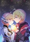 138sima 1boy 1girl closed_eyes couple cyborg fiorung hetero holding_hands long_sleeves night night_sky outdoors red_vest shulk sky vest xenoblade_(series) xenoblade_1