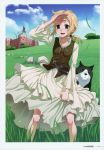 1girl :d absurdres blonde_hair blue_sky breasts brown_eyes brown_vest collarbone day dress enekk floating_hair highres koume_keito layered_dress long_dress long_hair nora_arento official_art open_mouth outdoors page_number ponytail scan shiny shiny_hair sky small_breasts smile solo spice_and_wolf vest white_dress