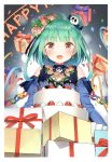 1girl absurdres bangs bare_shoulders birthday birthday_cake blush box cake confetti cream double_bun earrings eyebrows_visible_through_hair fangs flower food fruit gift gift_box green_hair hair_ornament highres hololive jewelry looking_at_viewer open_mouth red_eyes scan shiny shiny_hair simple_background skull_hair_ornament smile solo strawberry tied_hair uruha_rushia virtual_youtuber yasuyuki