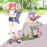 3girls aisaki_emiru bangs bare_legs blunt_bangs blush bow braid bush choker d: double_bun drinking_fountain dual_persona expressionless faucet french_braid grass hair_bow hairband hugtto!_precure long_hair looking_at_another monster_rally multiple_girls older open_mouth outdoors precure purple_hair red_eyes ruru_amour sandals shirt short_shorts shorts sidelocks sideways_glance sleeves_rolled_up time_paradox tree twintails violet_eyes water_balloon water_gun weeds wet wet_clothes wet_shirt younger