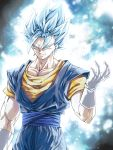 1boy arm_at_side aura blue_eyes blue_hair closed_mouth dragon_ball dragon_ball_super earrings gloves highres jewelry looking_at_viewer male_focus mattari_illust muscle potara_earrings smile smirk solo spiky_hair standing super_saiyan super_saiyan_blue upper_body vegetto white_gloves