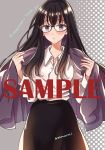 1girl :o bangs black-framed_eyewear black_hair black_skirt blush breasts cardigan character_name collared_shirt commentary_request copyright_name cowboy_shot eyebrows glasses grey_background himawari-san himawari-san_(character) long_hair long_skirt looking_at_viewer medium_breasts open_cardigan open_clothes purple_cardigan sample shirt shirt_tucked_in signature skirt solo standing sugano_manami violet_eyes white_shirt