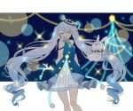 >_< 1girl antler_ornament arms_behind_back asagao_minoru beamed_eighth_notes blue_dress blue_headwear bow bowtie closed_eyes commentary cowboy_shot dress facing_viewer hat hatsune_miku highres holding holding_stick hood illumination layered_dress light_blue_hair long_hair musical_note musical_note_print neon_trim night night_sky open_mouth quarter_note rabbit rabbit_yukine sky smile snowflake_print standing star_(sky) star_(symbol) starry_sky stick string_of_light_bulbs treble_clef twig twintails very_long_hair vocaloid yuki_miku