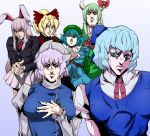 6+girls animal_ears araki_hirohiko_(style) blonde_hair blue_eyes blue_hair blue_skirt blue_vest bow bowtie cirno closed_mouth collared_shirt derivative_work dress ex-keine finger_gun fingernails gradient gradient_background green_dress green_hair grey_background grey_shirt grey_skirt hair_between_eyes hair_bobbles hair_bow hair_ornament hat horn_bow horn_ornament horns jojo_no_kimyou_na_bouken juliet_sleeves kamishirasawa_keine kawashiro_nitori kurodani_yamame letty_whiterock long_hair long_sleeves looking_at_viewer multiple_girls neck_ribbon neckerchief parody parted_lips pink_hair pleated_skirt ponytail puffy_short_sleeves puffy_sleeves purple_background purple_hair rabbit_ears reaching_out red_eyes red_neckwear reisen_udongein_inaba ribbon shirt short_hair short_sleeves skirt takada_sekiyu_(kabu) touhou twintails vento_aureo vest violet_eyes wing_collar