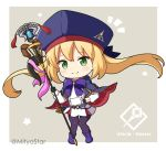 1girl artoria_pendragon_(all) artoria_pendragon_(caster) bangs black_gloves black_legwear blonde_hair blue_cape blue_headwear blush boots cape chibi closed_mouth commentary_request eyebrows_visible_through_hair fate/grand_order fate_(series) full_body gloves green_eyes grey_background hat holding holding_staff long_hair long_sleeves miicha multicolored multicolored_cape multicolored_clothes pantyhose pleated_skirt puffy_long_sleeves puffy_sleeves purple_footwear red_cape shirt skirt smile solo staff standing star_(symbol) twintails twitter_username two-tone_background very_long_hair white_background white_shirt white_skirt