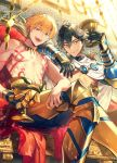 2boys ahoge arm_on_shoulder armor bangs bikkusama black_hair closed_mouth commentary_request couch cup earrings fate/grand_order fate_(series) gilgamesh highres holding holding_cup jewelry leg_armor looking_at_viewer male_focus multiple_boys official_art open_mouth orange_hair ozymandias_(fate) red_eyes shirtless sitting smile tattoo teeth tongue