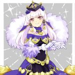 1girl closed_mouth dress fire_emblem fire_emblem:_three_houses fire_emblem_heroes fur_trim gloves hair_ornament hat long_hair lysithea_von_ordelia pink_eyes simple_background smile solo twitter_username white_gloves white_hair yukia_(firstaid0)
