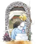 1girl alice_margatroid arch blonde_hair blue_dress blue_eyes building capelet commentary cross dress from_side full_body grass hairband highres kaigen_1025 long_sleeves outdoors plant puffy_sleeves purple_neckwear red_hairband shirt short_hair sitting solo touhou tree white_shirt
