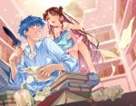 1boy 1girl blue_eyes blue_hair book bookshelf brown_hair collared_shirt commentary_request eyelashes facial_mark fate/grand_order fate_(series) fingernails forehead_mark glasses hand_up hans_christian_andersen_(fate) haruhikohiko holding holding_quill indoors looking_to_the_side open_mouth paper sesshouin_kiara shirt striped striped_shirt sweat teeth tongue vertical-striped_shirt vertical_stripes yellow_eyes