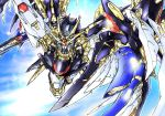 eiji_(tfkn2723) flying fusion glowing glowing_eye gun gundam gundam_seed gundam_seed_destiny gundam_wing gundam_wing_endless_waltz highres holding holding_gun holding_weapon looking_up mecha mechanical_wings no_humans solo strike_freedom_gundam v-fin weapon wing_gundam_zero_custom wings yellow_eyes