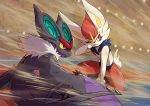 2others blurry blurry_background cinderace closed_mouth commentary_request crowd dust full_body fur_trim gen_6_pokemon gen_8_pokemon hand_on_own_cheek lights looking_to_the_side multiple_others no_humans noivern peron_(niki2ki884) pokemon pokemon_(creature) pokemon_(game) pokemon_swsh red_eyes shadow signature slit_pupils squatting tail wings yellow_eyes yellow_sclera
