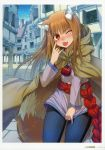 1girl absurdres animal_ears blue_pants blush brown_cloak brown_hair cloak cowboy_shot day eyebrows_visible_through_hair floating_hair highres holo hood hooded_cloak koume_keito long_hair long_sleeves looking_at_viewer official_art one_eye_closed orange_eyes outdoors page_number pants pouch purple_shirt road scan shiny shiny_hair shirt solo spice_and_wolf standing street tail tongue tongue_out very_long_hair wolf_ears wolf_tail