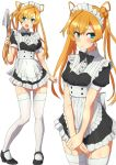 1girl abukuma_(kantai_collection) alternate_costume apron bangs black_dress black_footwear blue_eyes blush breasts closed_mouth comala_(komma_la) double_bun dress duster enmaided eyebrows_visible_through_hair garter_straps highres kantai_collection long_hair maid maid_headdress multiple_views open_mouth orange_hair short_sleeves simple_background small_breasts standing thigh-highs white_apron white_background white_legwear